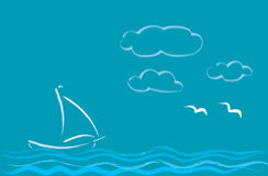 Sailing on the waves. Royalty Free Stock Photography