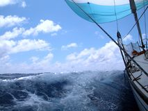 Sailing with wind. In the ocean Royalty Free Stock Photos