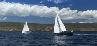 Sailing in the wind through the waves at the Aegean Sea. Traveling. Stock Image