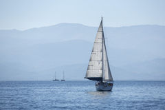 Sailing in the wind through the waves early in the morning Royalty Free Stock Photo