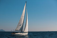 Sailing in the wind through the waves at the Sea. Stock Image