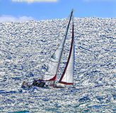 Sailing in windy conditions during the winter, even in South Florida, can prove to be a bit rough. Sailboat enjoying the windy weather off the South Florida Royalty Free Stock Image