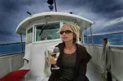 Sailing and Wining. Cruising around Auckland's Waitemata Harbour, the Hauraki Gulf and the islands of the Gulf you will experience New Zealand history and royalty free stock photo
