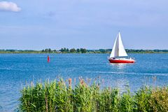 Sailing With Sailing Yacht On The Veluwemeer In The Netherlands Stock Photos