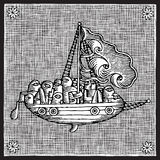 Sailing woodcut Royalty Free Stock Image