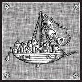 Sailing woodcut. Crowded ship sailing black and white woodcut Royalty Free Stock Image