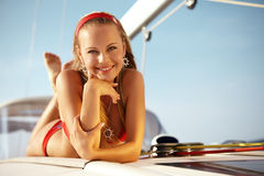 Sailing on yacht Royalty Free Stock Image