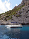 Sailing yacht. Moored in a sheltered bay near marseille stock images