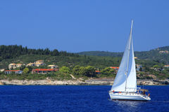 Sailing yacht. In the Ionian sea Greece Stock Photo