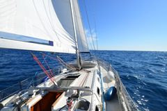 Sailing yacht in action. Sailing yacht on the race Royalty Free Stock Photos
