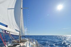 Sailing yacht in action Stock Photos