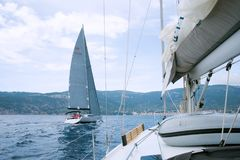 Sailing yacht in Adriatic. Traveling, shipping, seafaring concep Royalty Free Stock Photo