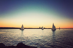 Sailing yacht against sunset Royalty Free Stock Photos