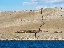Sailing on a yacht along an island village in Croatia, farming a. Lone on an empty desert island, Kornati national park Stock Image