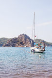 Sailing yacht at anchor in the sea. Aegean, Turkey.  Royalty Free Stock Images