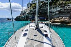 Sailing yacht on anchor Stock Image