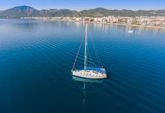Sailing yacht at anchorage near the town of Marmaris in Turkey. Aerial top view Royalty Free Stock Image