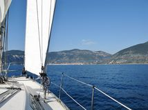 Sailing yacht in the bay of Vis Royalty Free Stock Photos