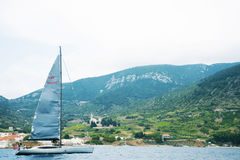 Sailing yacht in beautiful Adriatic. Royalty Free Stock Photos