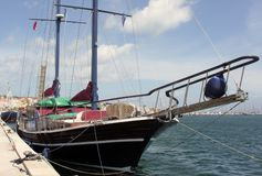 Sailing yacht berthed in port Royalty Free Stock Images