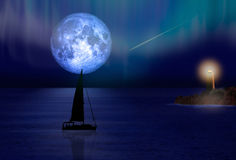 Sailing yacht and blue moon against light house Stock Photo