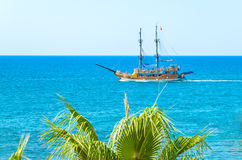 Sailing yacht in the blue sea Stock Photo