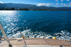 Sailing yacht. On board view of a sailing yacht cruising the aegean sea, Greece Royalty Free Stock Photography