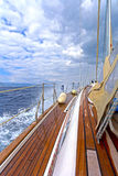 Sailing yacht. On board view of a sailing yacht cruising the aegean sea, Greece stock photos