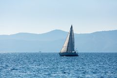 Sailing yacht boat at the Sea. Luxury. stock photography