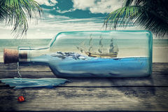 Sailing yacht in the bottle on beautiful seascape. Beautiful screen saver Royalty Free Stock Photography