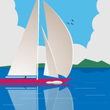 Sailing a yacht on calm water. Illustration of a man sailing a yacht on calm water Royalty Free Stock Images