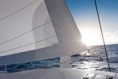 Sailing yacht catamaran sailing in the sea. Sailboat. Sailing. Stock Photos