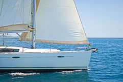 Sailing yacht. Close up of a sailing yacht cruising the aegean sea, Greece royalty free stock photos