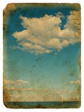 Sailing yacht and clouds. Old postcard. Stock Images