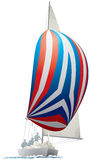Sailing Yacht with colorful spinnaker Stock Images