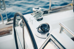 Sailing yacht control cockpit, wheel and implement Stock Photo