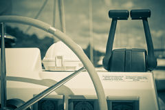 Sailing yacht control wheel and implement Stock Photography