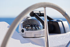 Sailing yacht control wheel and implement Royalty Free Stock Photography