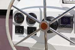 Sailing yacht control wheel and implement. Stock Photography