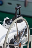 Sailing yacht control wheel and implement Stock Photos