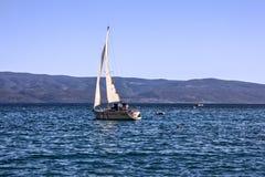 Sailing yacht in Croatian resort Omis Royalty Free Stock Image
