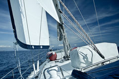 Sailing yacht on a cruise deck view Stock Photos