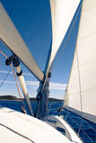 Sailing yacht on a cruise deck view Royalty Free Stock Photos