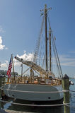 Sailing yacht at the dock stock images
