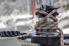 Sailing yacht equipment; block with main sheet rope Stock Image