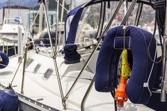 Sailing yacht equipment; block with main sheet rope Royalty Free Stock Photo