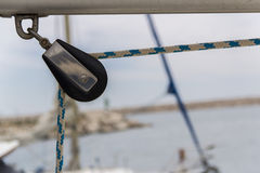 Sailing yacht equipment; block with main sheet rope Royalty Free Stock Images