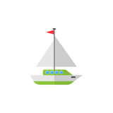 Sailing yacht flat icon, travel tourism Royalty Free Stock Photo