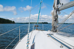 Sailing yacht in the Gulf of Finland. Trip on a yacht along the coast of the Gulf of Finland Stock Photography
