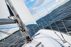 Sailing yacht in the Gulf Stock Images